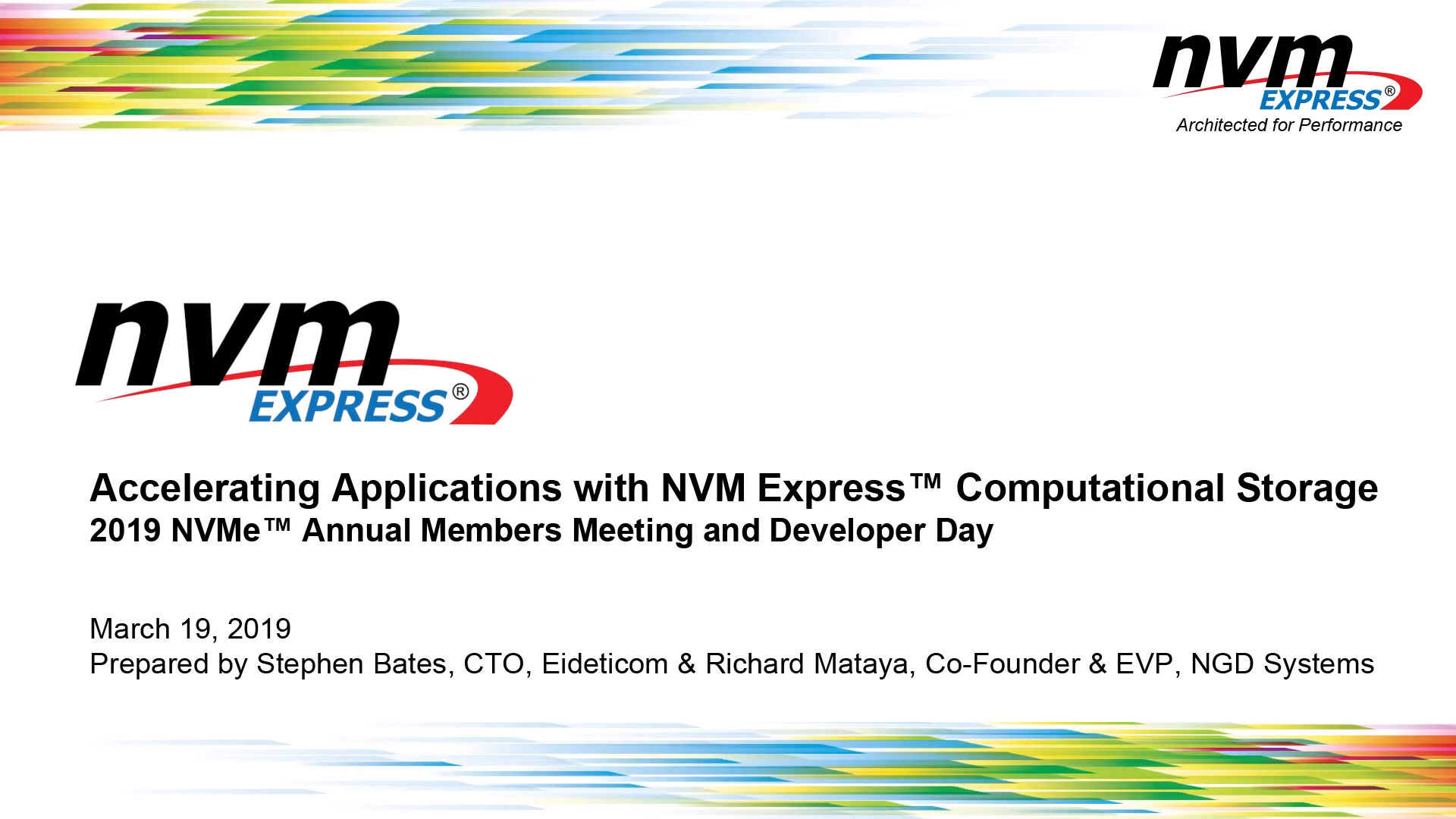 Accelerating Applications with NVM Express™ Computational Storage