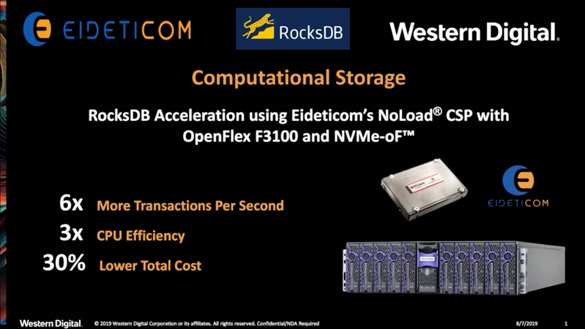RocksDB Acceleration using Eideticom's NoLoad® CSP with OpenFlex F3100 and NVMe-oF™